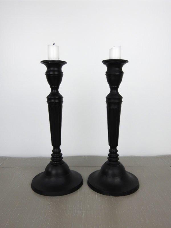 Black pillar candle holders