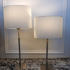 White Textured IKEA Side Table Lamps