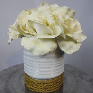 textured white rose vase