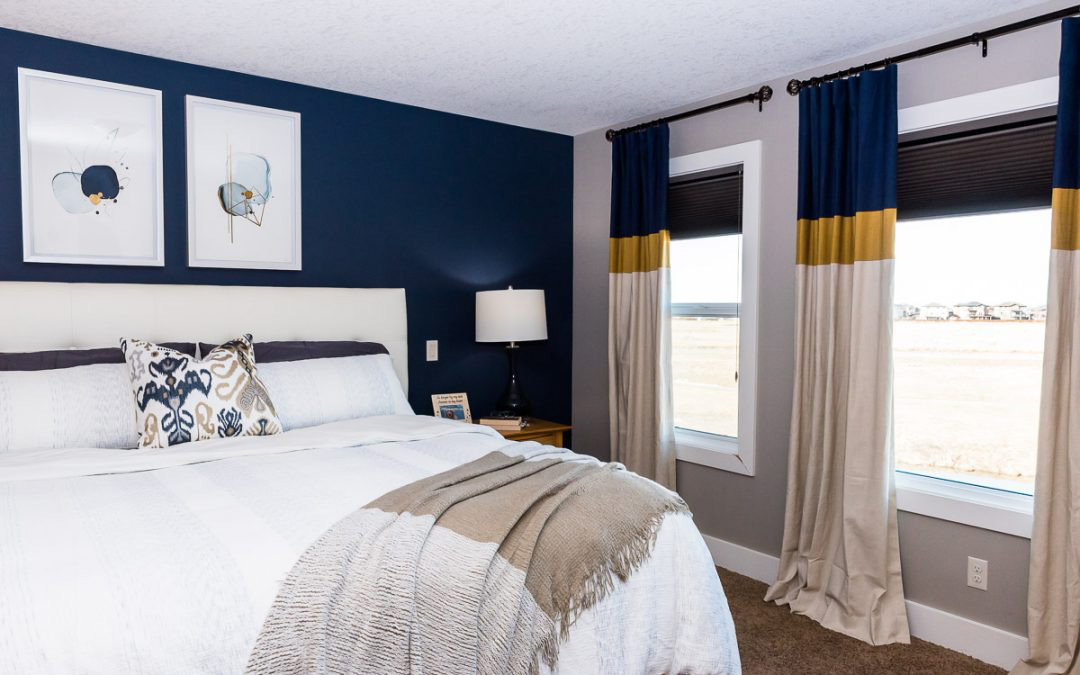 """""""No More Red"""": Blue & Gold Bedroom, Bathroom, and Dining Room – Interior Decorating"""