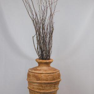 Clay Floor Vase with Twigs