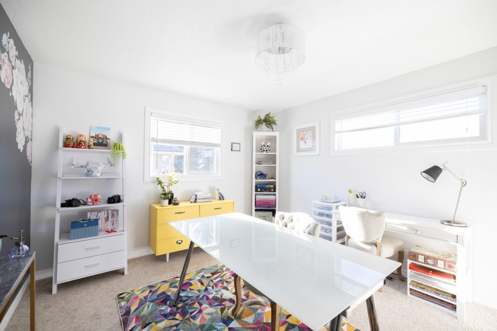 Creative Home Office with Yellow Accent cabinet