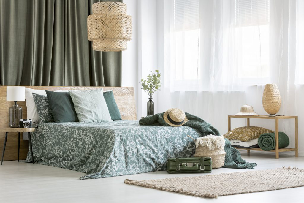 Master Bedroom with green accents