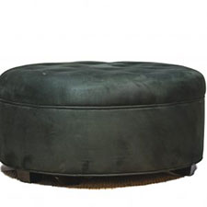 Microfiber Black Round Ottoman