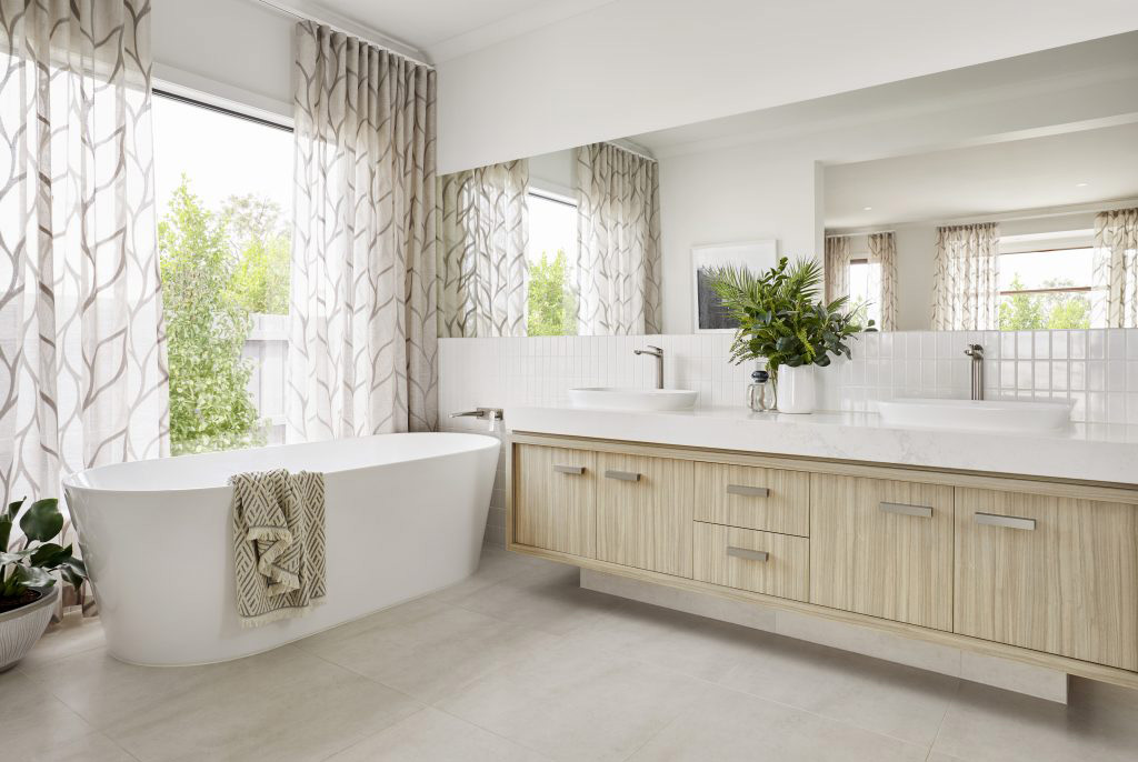 Neutral Colour Modern Bathroom with wood cabinet