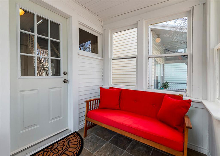 Red and White colour palette for home entryway