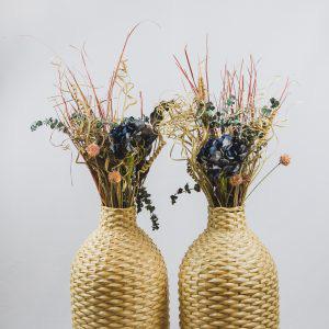 Wicker Floor Vase with Flowers