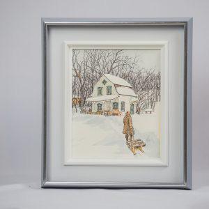 Winter Cabin Art