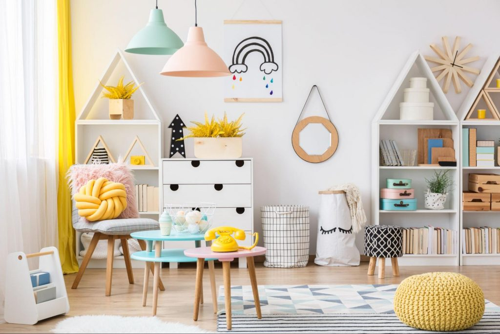 Kids playroom using a pastel primary Colour Triadic Scheme