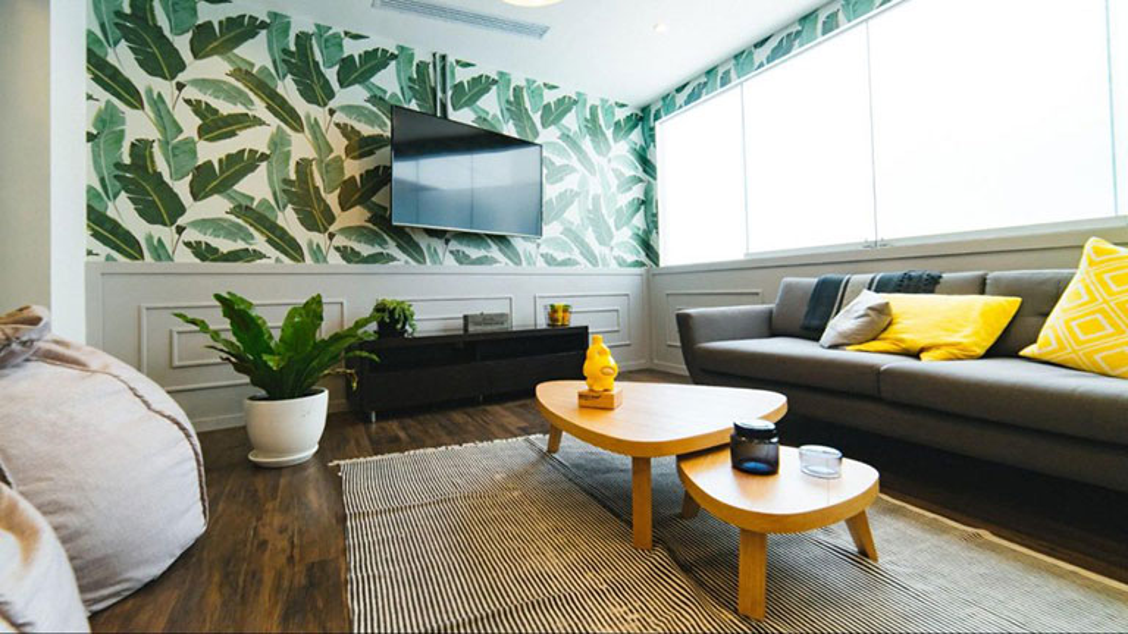 A living room using an analogous Green-Yellow Colour Scheme